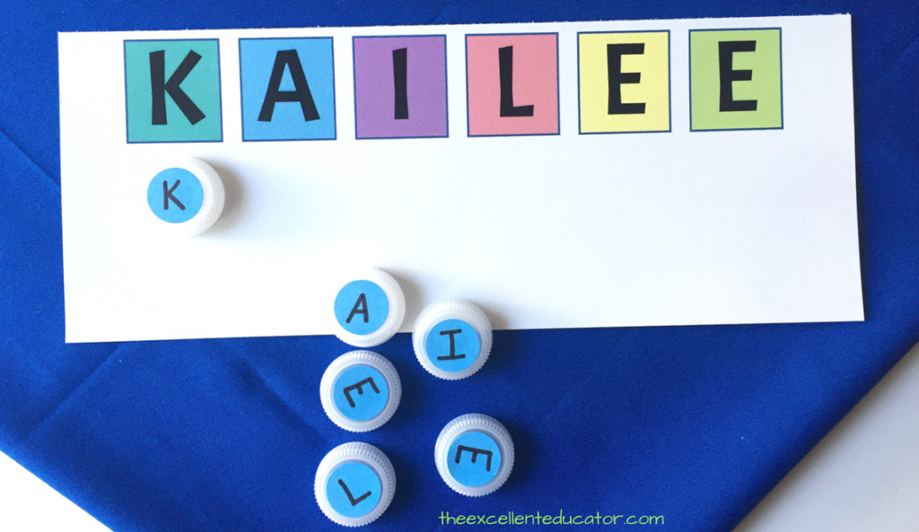 Picture of a name mat and bottle tops with letters to match the letters in the name