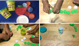 Picture of play dough and bottle tops and children using the tops to create things