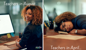 Teacher smiling and teacher sleep on a desk. The smiling teacher represents a teacher in August and the teacher who is sleep represent the teacher in April.